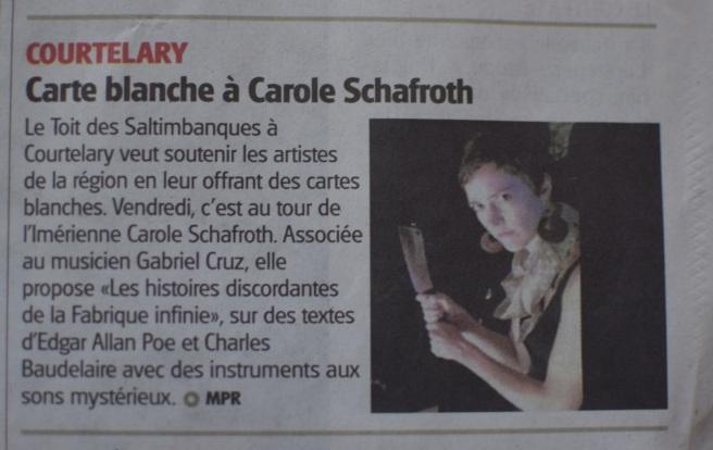 fabrique infinie - presse - les histoires discordantes - Carole Schafroth - Gabriel Cruz
